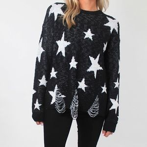 MOVING SALE🏠 Shop Talulah Distressed Star Sweater